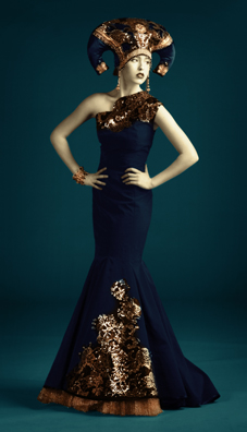 evgenia luzhina salazar couture blue dress