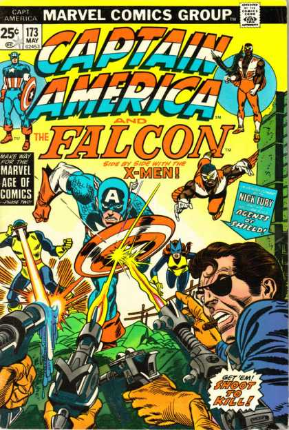 Captain America 173 - Falcon - X-men - Marvel Age Of Comics - Get Em Shoot To Kill - Guns