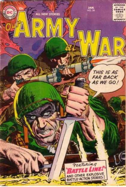 Our Army at War 54 - Gun - Sword - Jan No 54 - Grenade - Battle Line - Joe Kubert