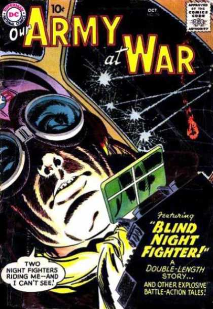 Our Army at War 75 - Blind Night Fighter - Airplane - Gunfire - Double Length Story - Googles
