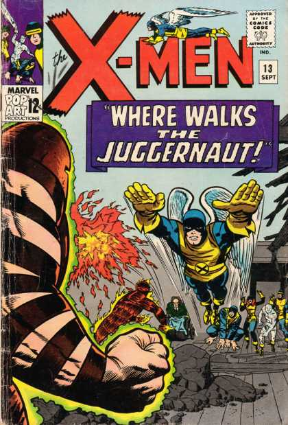 Uncanny X-Men 13 - Human Torch - Juggernaut - Angel - Broken Rocks - Team Of Heros - Jack Kirby, Joe Sinnott