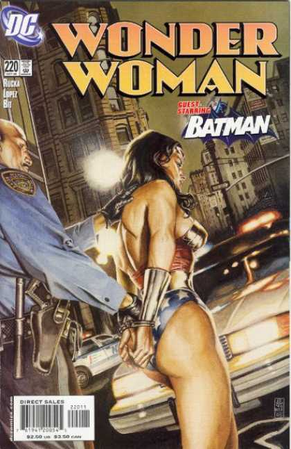Wonder Woman (1987) 220 - Batman - City - Police Car - Handcuffs - Pistol - J Jones