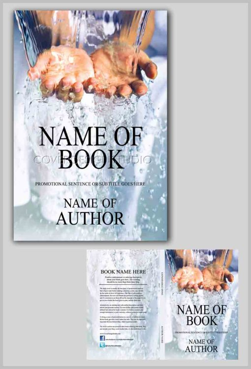 book cover with hands in water