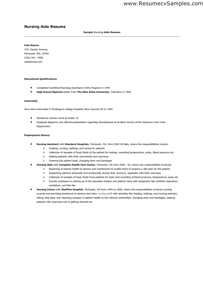 Nursing Assistant Resume. Resume Example Cna Resume Sample With No