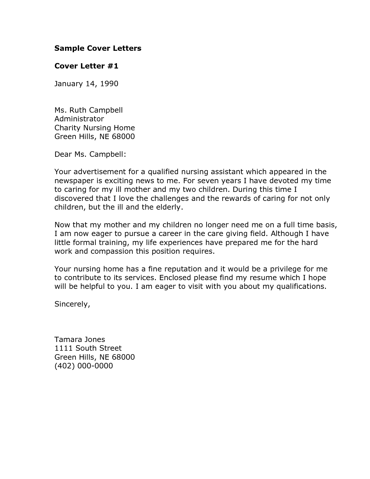 sample of cover letter for nursing position resume for google