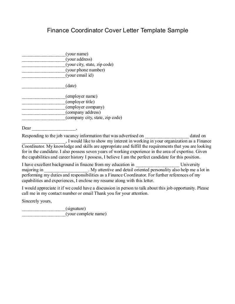 Cover Letter For Finance Manager Image collections - Cover Letter ...