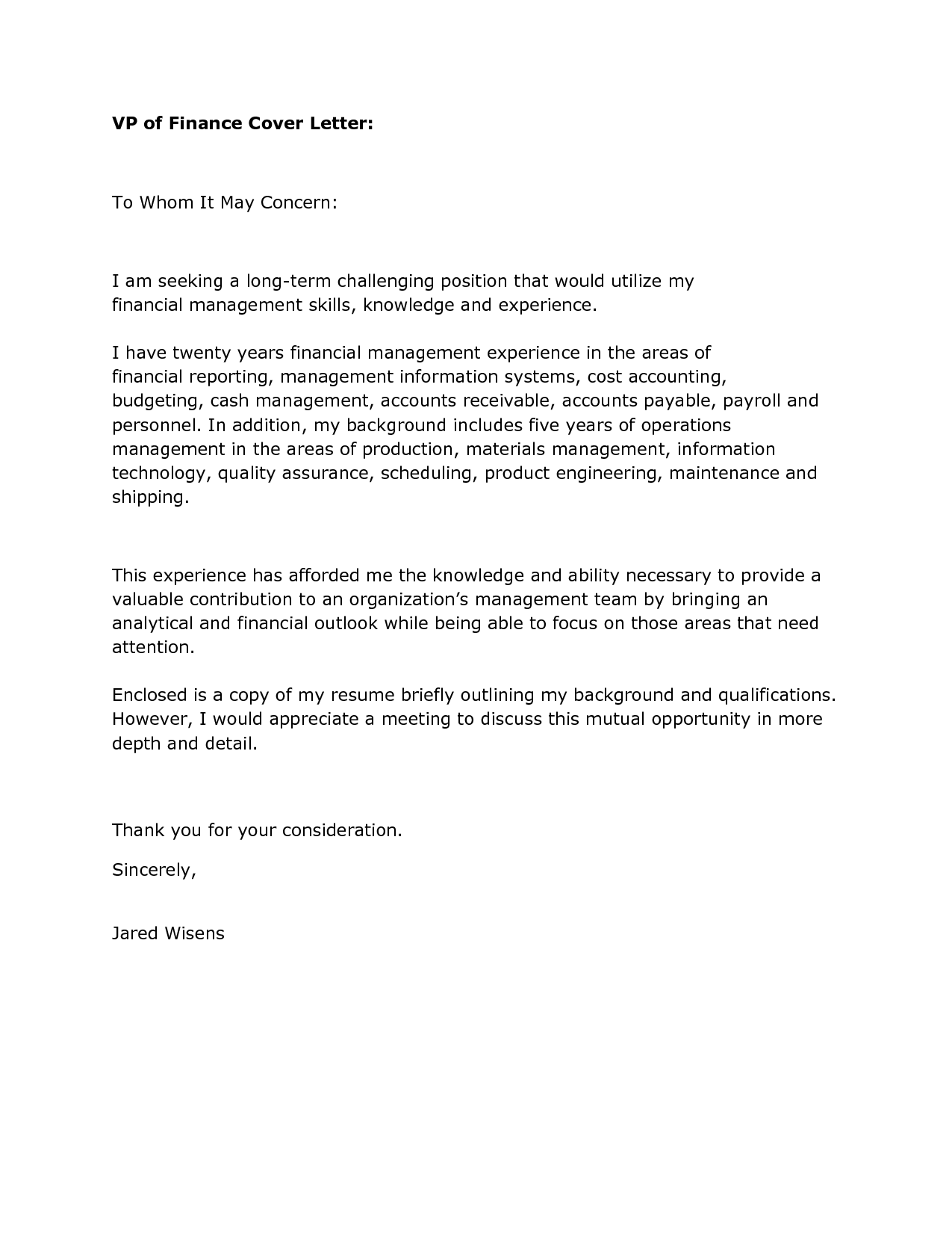 cover - Financial Cover Letter
