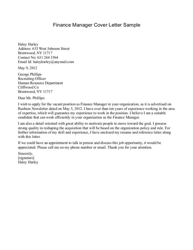 Cover Letter For Investment Management Choice Image - Cover Letter ...