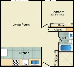 1 Bed / 1 Bath / 624 sq ft / Rent: $689
