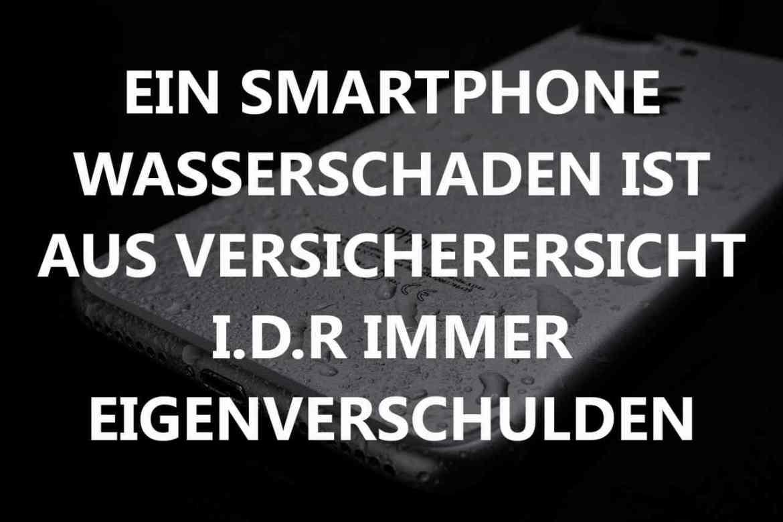 Nasses Iphone im Hintergrund. Text vor Iphone.