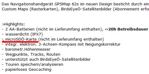 Beschreibung Grarmin GPSMap 62s