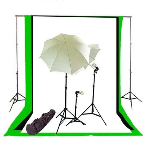 photo studio umbrella continous triple lighting kit background support and black white chromakey green 3 muslin backdrops newcb bwg triplekit