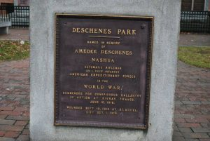 Amedee Deschenes monument at Railroad Square, Nashua NH. Recent photograph courtesy of John R. Bolduc, Nashua NH native.