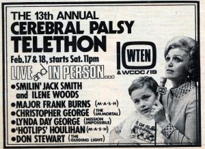 1973 advertisement for the Cerebral Palsy Teletheon, showing Ilene Woods.