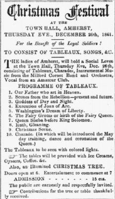 Notice of Christmas Festival at Amherst NH in the Farmer's Cabinet of December 19, 1861, page 3