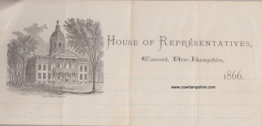 "Stationery from New Hampshire State House of Representatives, Concord New Hampshire 1866 showing the ""New State Capitol"""