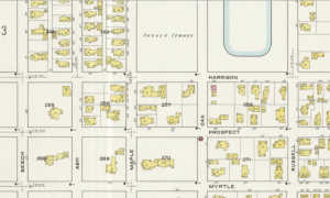 Segment of the 1915 Sanborn Insurance Map of Manchester NH showing the lot now containing Wagner Park, bound by Prospect, Myrtle, Maple and Oak Streets.
