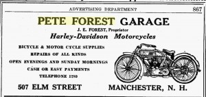 Advertisement for Pete Forest Garage, from the 1918 Manchester (NH) City Directory