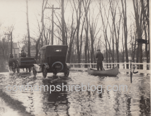 Daniel Webster Highway in Concord in 1923. Following unusual weather, freshets caused the rivers to rise and flood many roads.