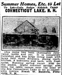 1924 advertisement of the Justice Baldwin cabin for rent.
