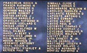 A portion of the engraved names of Nashua military of WWI at Deschenes Oval, Nashua NH.