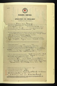 Elena Crough's application to join the American Red Cross in 1917. Prior experience includes: private work from 1908-1914; school nurse Manchester NH 1914-1917.