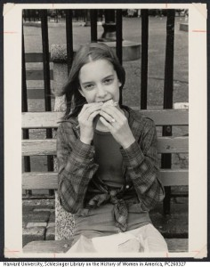 Girl eating sandwich, Fred Leinwand photographer, Estate of Fred Leinwand, Schlesinger Library on the History of Women in America, Radcliffe Institute, VIA, Harvard University Library