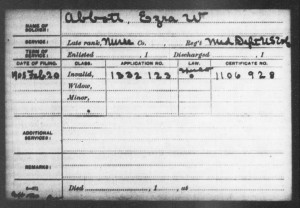 Ezra W. Abbott Civil War pension card