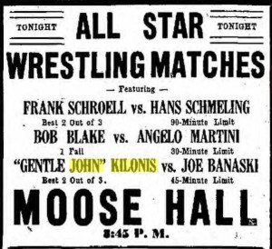 Hamilton Daily news of 26 December 1935 announcing an all star wrestling match