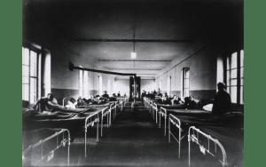 Photo, U.S. Army Base Hospital Number 6, Bordeau, France, Medical Ward No. 18; The National Library of Medicine