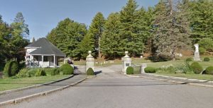 The main entrance to Blossom Hill Cemetery, Concord NH.