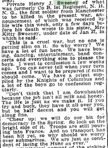 The Boston Daily Globe of March 17 1918, page 10 with letter home from Pvt. Henry J. Sweeney