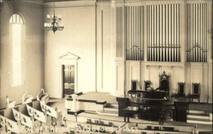 Old postcard, interior of Church of Christ, Bradford MA