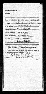 Back of Walter T. Drew's death record showing his burial date and location of Blossom Hill Cemetery.
