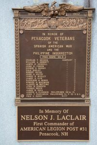 Spanish American and Philippine War plaque, Penacook, NH. Courtesy Debbie LaValley.