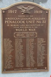 World War I Memorial at American Legion Post #31, Penacook NH. Photograph courtesy of Debbie LaValley.