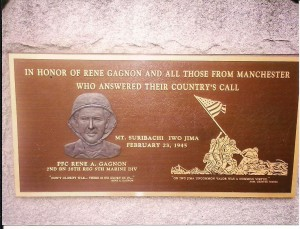 One of the plaques at the Rene Gagnon memorial, Victory Park, Manchester NH. Photograph property of Jacqueline T. Lynch. Used by Permission.