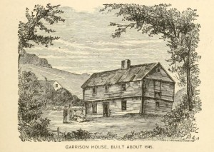 Sketch of a New Hampshire garrison house, from History of New Hampshire, by John N. McClintock, page 85