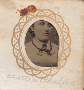 Hattie Phelps from a gem-sized tintype photograph