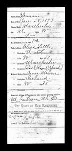 Birth record of Herman J. Little