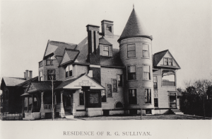 1893 photograph of Queen Anne style house at 168 Walnut Street in Manchester, New Hampshire. Built by R.G. Sullivan in Manchester NH, it was designed by architect William M. Butterfield (1860-1932).