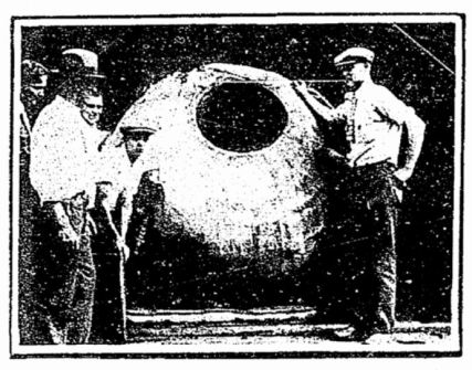 Lussier's Rubber ball used to survive Niagara Falls. July 29, 1928 Times-Picayune (New Orleans, LA), page 84