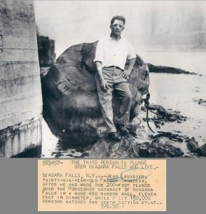 Photograph of Jean Lussier, daredevil of Niagara Falls.  Courtesy and copyright of Dick Brodeur.  Used here with his permission.