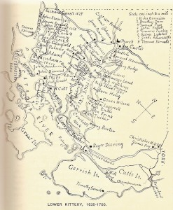 Map of Lower Kittery, 1635-1700 from Old Kittery and her families, by Everett Stackpole, 1903