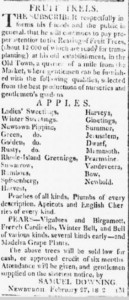 March 24, 1812 Orange Co. Patriot Newspaper, Newburgh NY advertisement for Downing Nursery