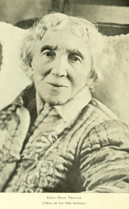 Photograph of Edna Dean Proctor taken on her 94th anniversary; from The Granite Monthly.