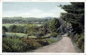 Old postcard: Road to Meredith Village at Lake Winnipesaukee