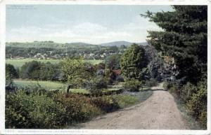 Old postcard: Road to Meredith Village at Lake Winnipesaukee