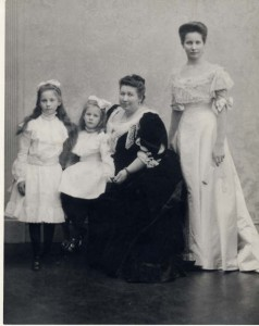 Mrs. Albertina T. (Pyne) Russell, seated, with her daughters (L to R) Helen Rutherford Russell, Constance Rivington Russell, and Ethelberta Pyne Russell.