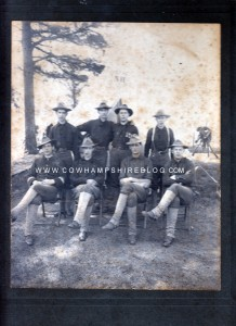 Photograph of some members of the 1st NH Infantry (see NH on the tent flap).  Property of Janice W. Brown